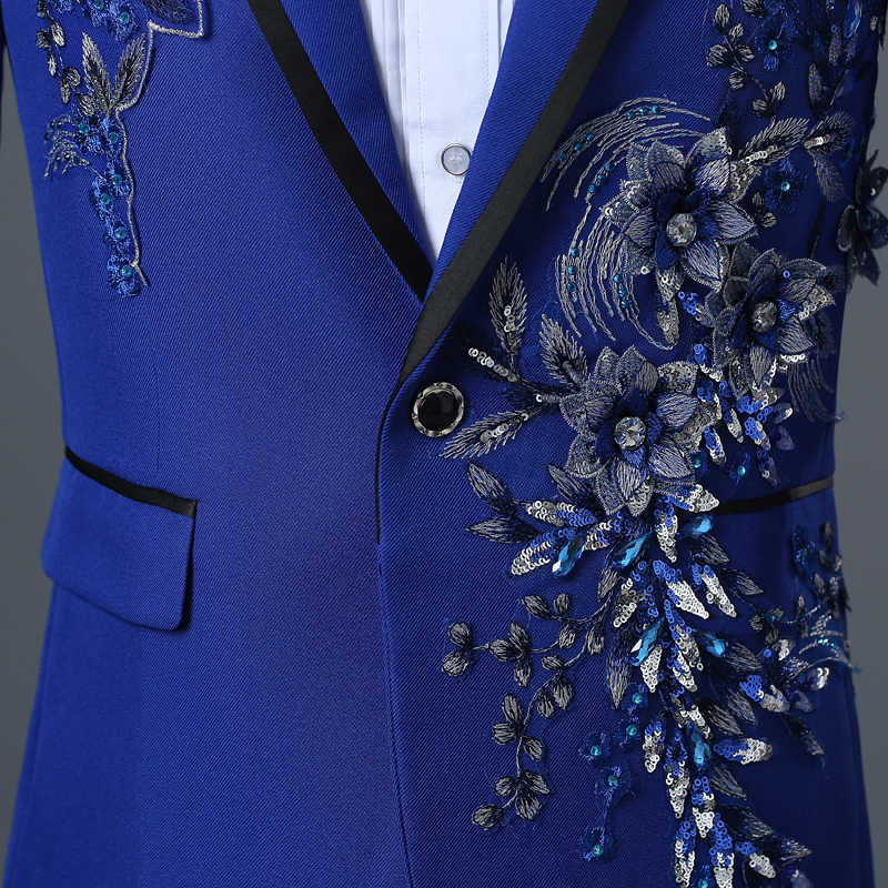 PYJTRL 男性両面 3D クリスタル刺繍花ステージ歌手ナイトクラブスーツジャケット潮バーメンズ結婚式のブレザー Masculino