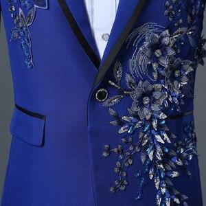 Image 5 - PYJTRL chaqueta con bordado de cristales 3D para hombre, chaqueta masculina de doble cara con bordado de cristales y flores para escenario y club nocturno