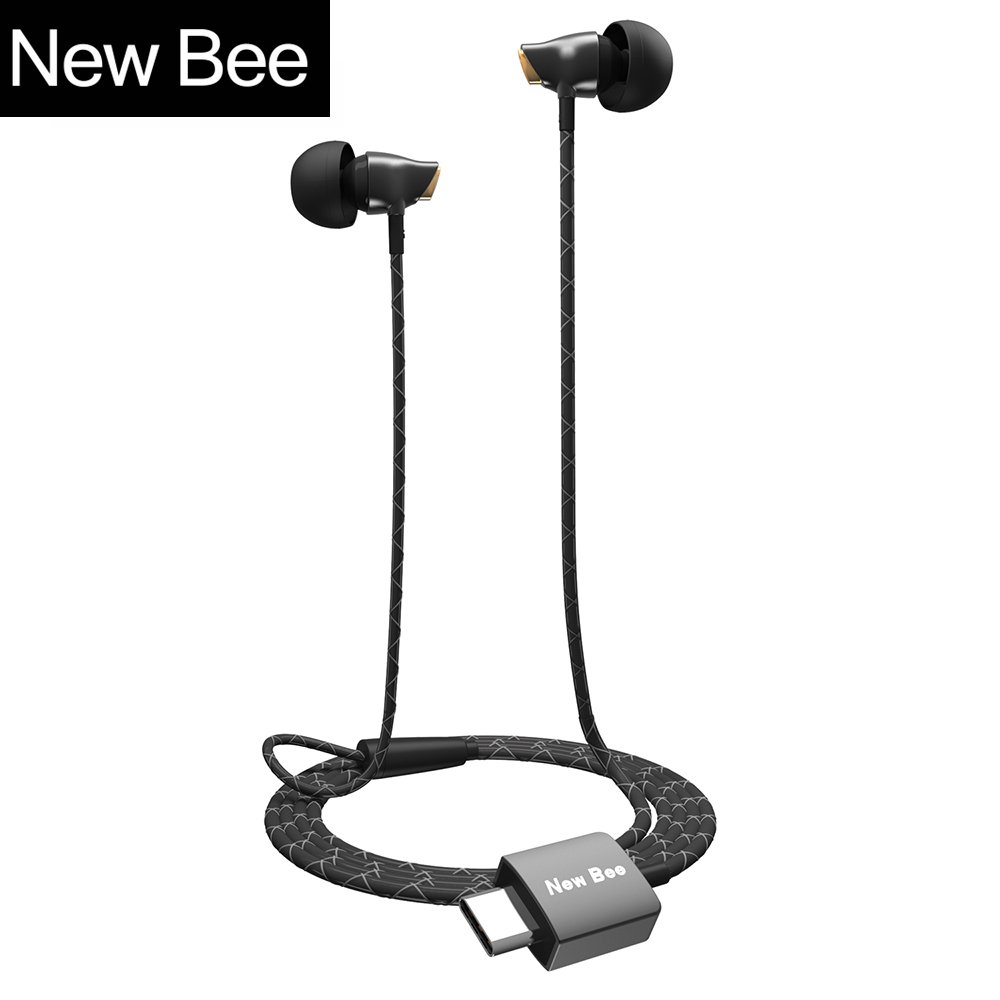 New Bee Type-c Earphone Headset USB-c Ceramic Stereo Earbuds Clear Bass Wired Earphone for Huawei Google Samsung Type-C Phone usb type c metal hi fi stereo earphones wired control type c earbuds for huawei google moto z letv leeco le max 2 pro htc phone