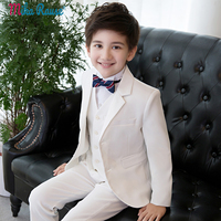 5PCS Kids boys suits white flower boy white blazers children prince wedding dress costume uniform clothes formal party clothing