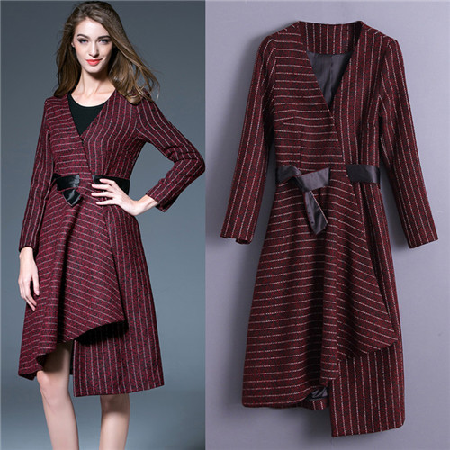 b5ade8596e4fa US $78.9  plus size women dresses free shipping lady dresses wine red  stripe v neck wrap dress irregular mature women fashions frocks-in Dresses  from ...