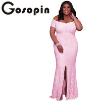 Gosopin New Fashion Women Floral Vestidos Elegant Vintage Retro Lace Dress Long Pink Plus Size Off