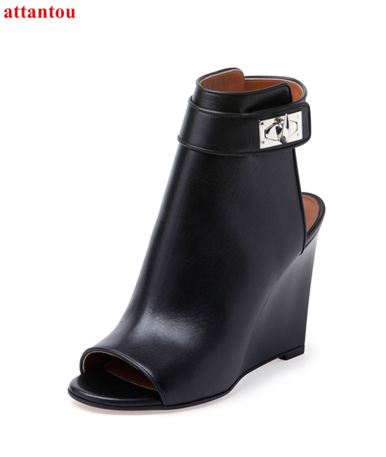 2018 fashion Wedges woman ankle boots metal ankle buckle peep toe black leather short booties concise design female dress shoes yanicuding round toe women flock ankle booties metal short boots zip design luxury brand fashion runway star autumn shoes flats