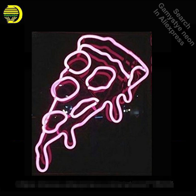 цена Pizza Slice Neon Sign Handcrafted Food Board Neon Bulbs Art Glass Tube Iconic Decorate Sign lite beer light signs illuminated в интернет-магазинах