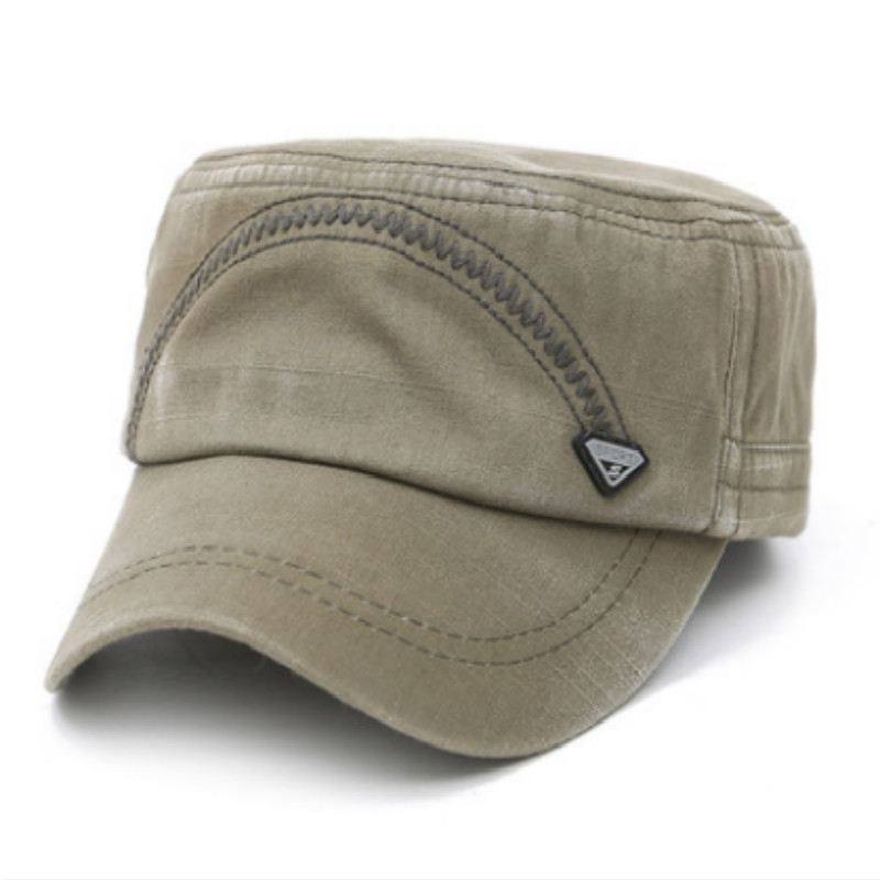 Cotton Vintage German Military Hat Cap Women Men Casual Flat Army Hat Adjustable Short Brim Flat Bone Gorras