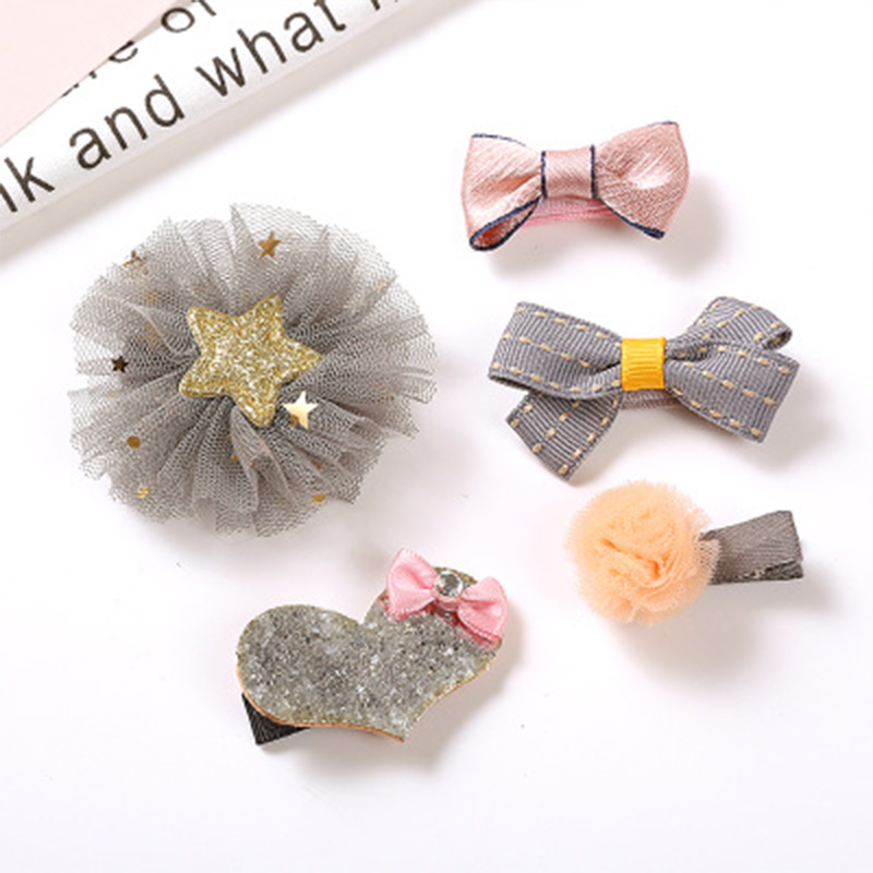 Fashion 1Set=5PCS New Children Lovely Bows Hair Clips Girls Birthday Gift Flowers Headwear Safety Barrettes Kid Hair Accessories