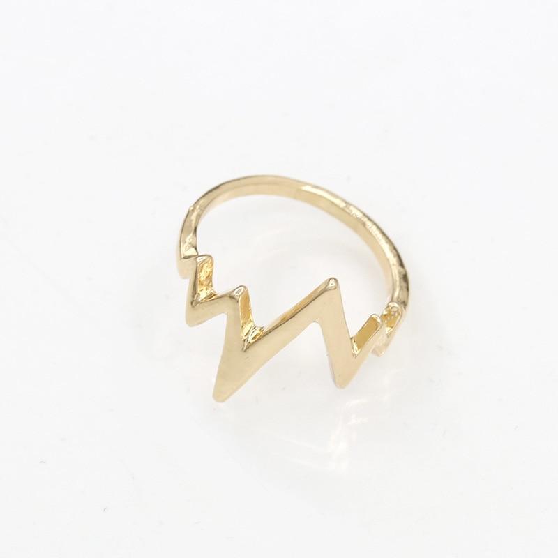 97a332ba1 Lightning Ring ECG Heartbeat Rings Gold Silver Black Charm Women Men  Fashion Jewelry Finger Accessories