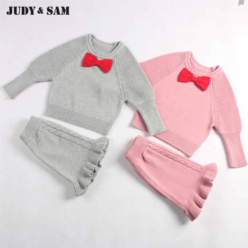 Girls Cute Knitted Sweater With Skirt Kids Set Wear Sweet Style With Bow Knot For Spring& Autumn Baby Garment cute baby kids girls first walkers bow knot ribbon soft floral soled crib shoes white