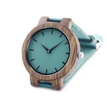 Wooden Wristwatch Blue Dial Leather Quartz