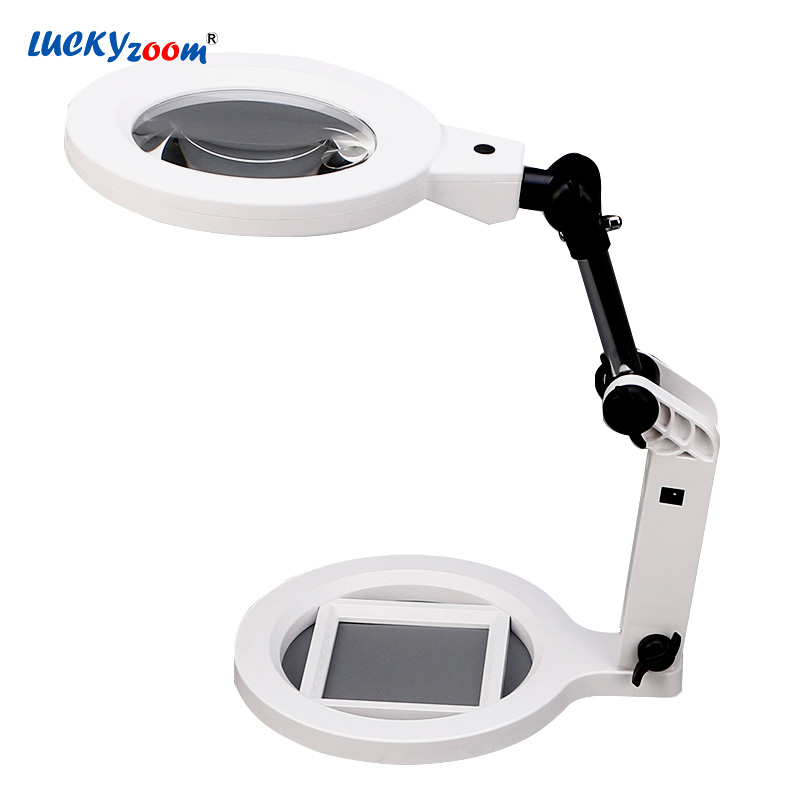 Luckyzoom Desktop Folding Magnifier 2X 5X Charge LED Illuminated Magnifier Magnifying Glasses Multifunction Third Hand Loupe все цены
