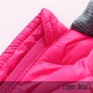 Image 5 - 冬のオーバーオールのための男の子新生児赤ちゃんフード付きロンパース厚みの暖かいジャンプスーツパッド入り幼児赤ちゃん赤防風服cl1003