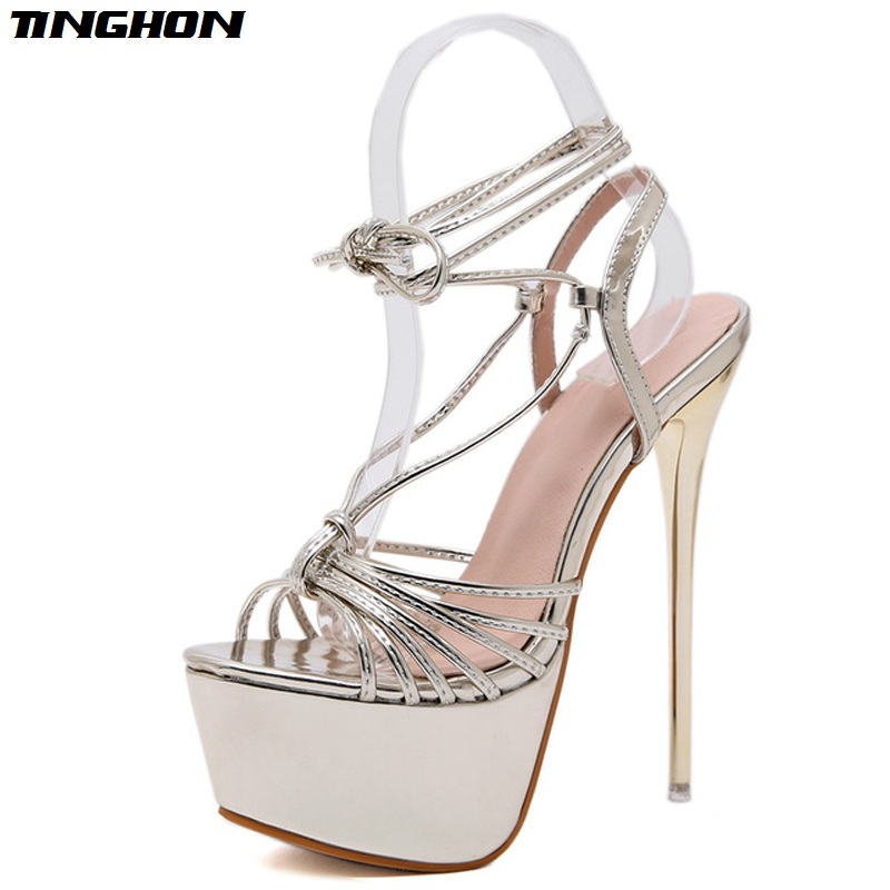 TINGHON Spring Autumn Sexy Fashion Gladiator Sandals Women Thin High Heel Lace-up Shallow High Heels Solid Party Golden 34-40TINGHON Spring Autumn Sexy Fashion Gladiator Sandals Women Thin High Heel Lace-up Shallow High Heels Solid Party Golden 34-40