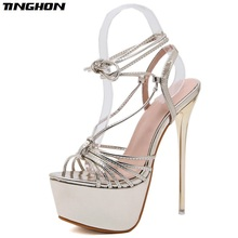 TINGHON Spring Autumn Sexy Fashion Gladiator Sandals Women Thin High Heel Lace-up Shallow Heels Solid Party Golden 34-40