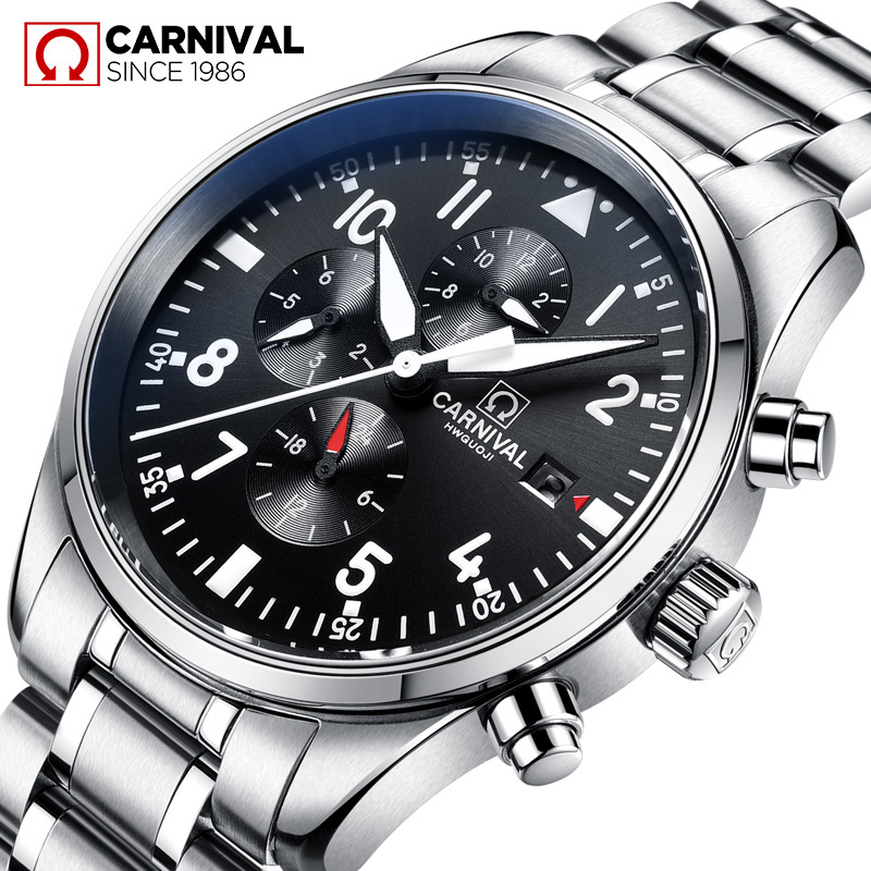 Carnival Watch Men Automatic Mechanical Luminous All Black Stainless Steel Waterproof multifunction Watches цена и фото