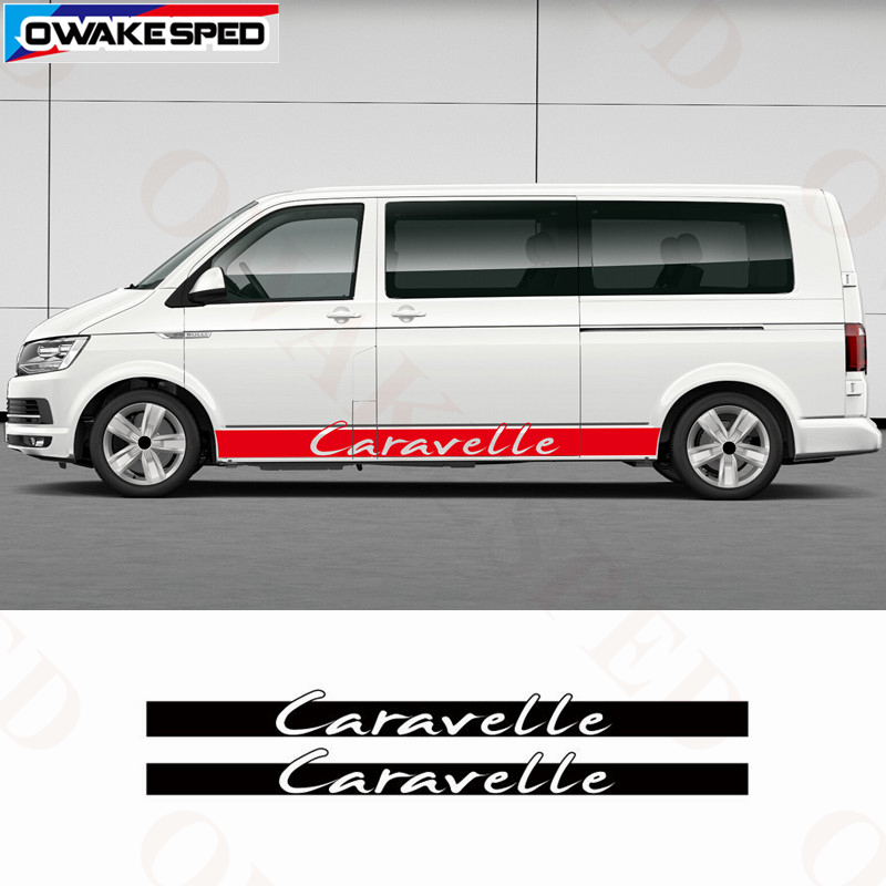 Car Styling Stickers For Volkswagen Caravelle T5 T6 Side Skirt Stripes Racing Sport Sticker Auto Body