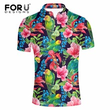 FORUDESIGNS 2017 New Men POLO Shirt Fashion Flower Print Polo Homme Slim Fit Short-sleeve Camisa Polo Men Summer Tops&Tees XXXL