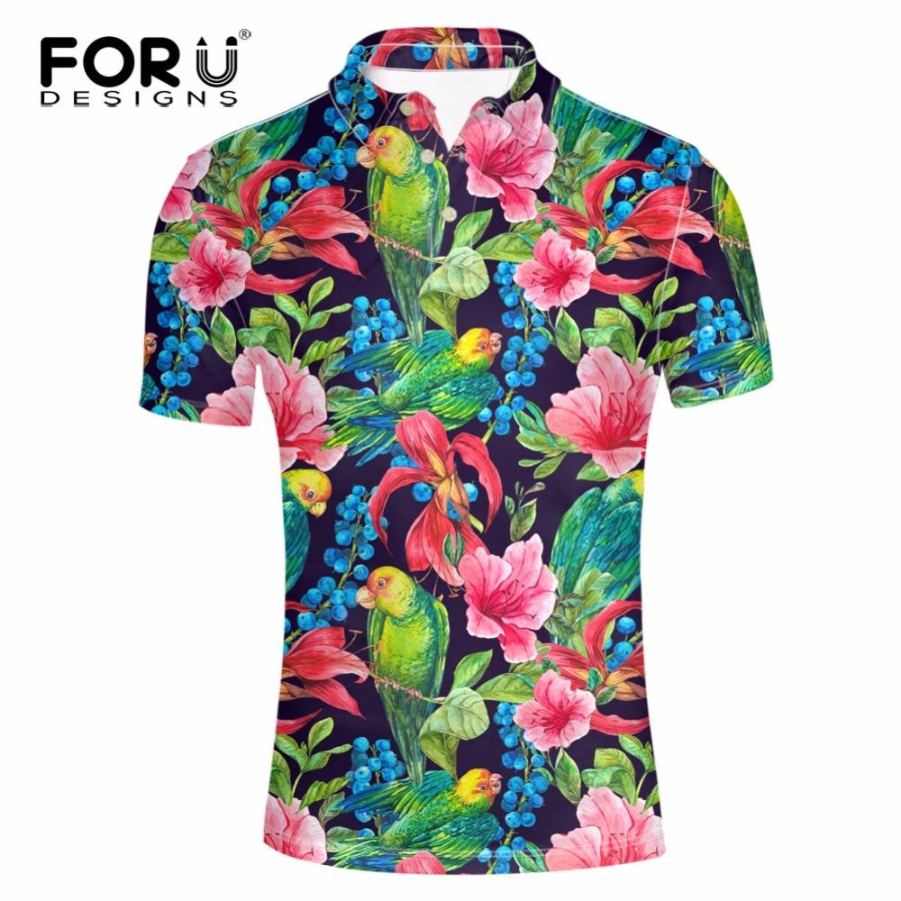 FORUDESIGNS Men   POLO   Shirt Fashion Flower Print Homme Slim Fit Short-sleeve Camisa Men Summer Tops&Tees S-XXXL