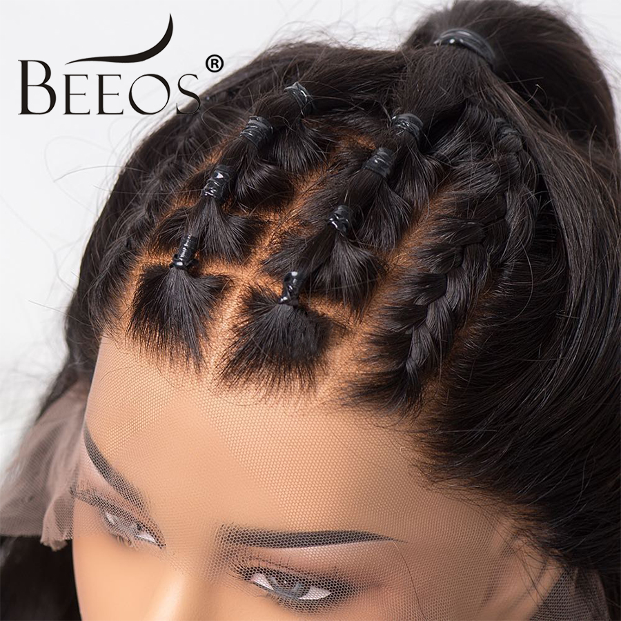 Beeos Fake Scalp Wig Straight 13 6 Lace Front Human Hair Wigs Invisible Knot Brazilian Remy