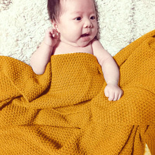 High Quality Candy Color Infant Woolen Blanket Children100% Organic Cotton Knitted Baby Blanket for Boys Girls Kids