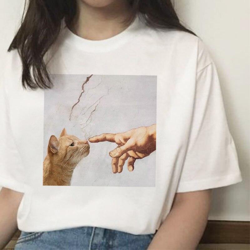 Summer new casual fashion big size cartoon art spoof fun tops tees print short-sleeved Michelangel cute cat loose female T-shirt