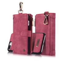 Original CaseMe Genuine Leather Multi Functional Magnetic Removable Wallet Flip Phone Case For Iphone 7 6