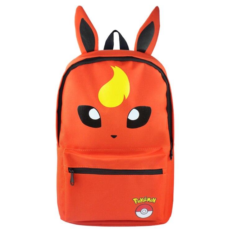 Flareon Fire Eevee Backpack Bag School Book Bag Cute Cartoon Smile Face Bag Kids Boys Girls Gift Xmas Mochila