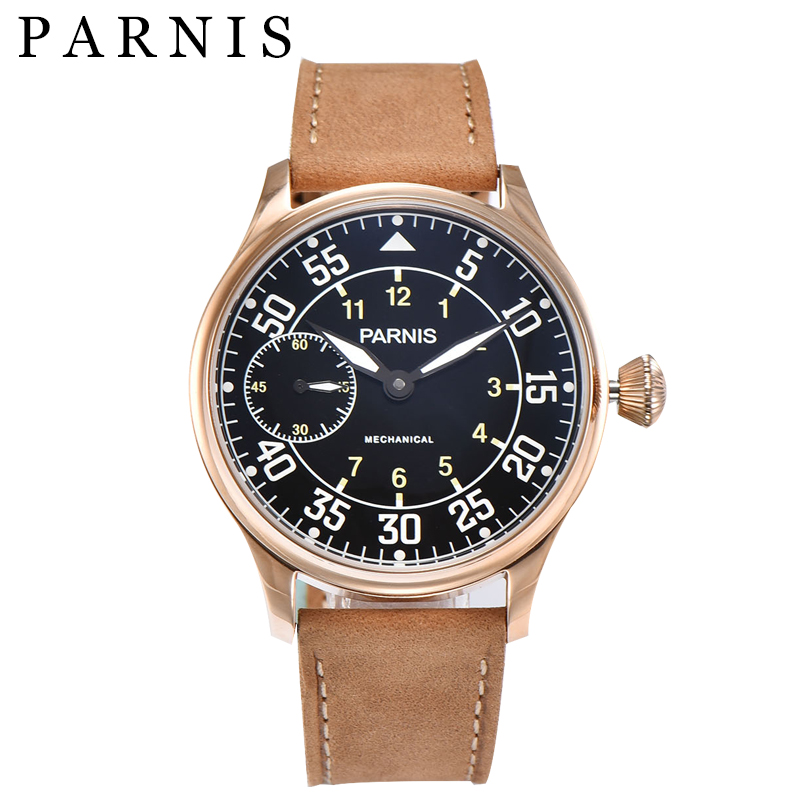 New 44mm Men Watch Parnis Hand Winding Mechanical Watches Sea-gull Movement Black Dial Gold Stainless Steel Case Free Shipping