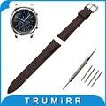Cuero genuino correa de reloj de 22mm para samsung gear s3 classic/frontera inoxidable hebilla de la correa de pulsera pulsera de la correa negro marrón