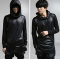 Brand New Hooded T-shirts Men's Punk Fashion Black Long Sleeve Casual Costume Stage Top Tees 2016 Hot Masculina Camiseta Hombre