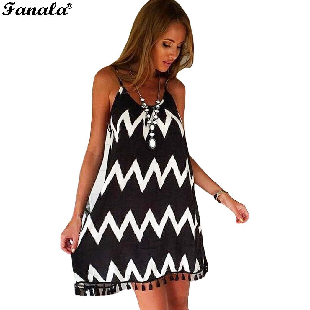 Dress Casual Geometric Printed Beach Tassel Spaghetti Strap Short Women