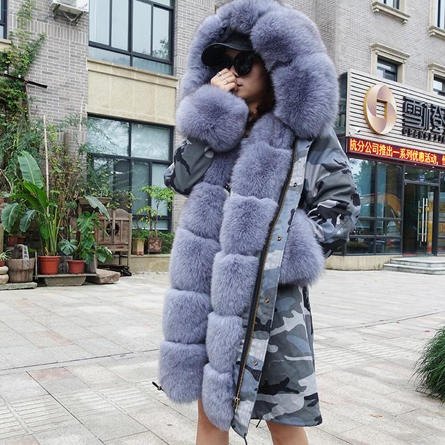 YOUMIGUE Mujeres de gran cuello de piel de zorro natural de invierno cálido real parka de piel con piel de conejo rex lujo liner parka de camuflaje chaqueta