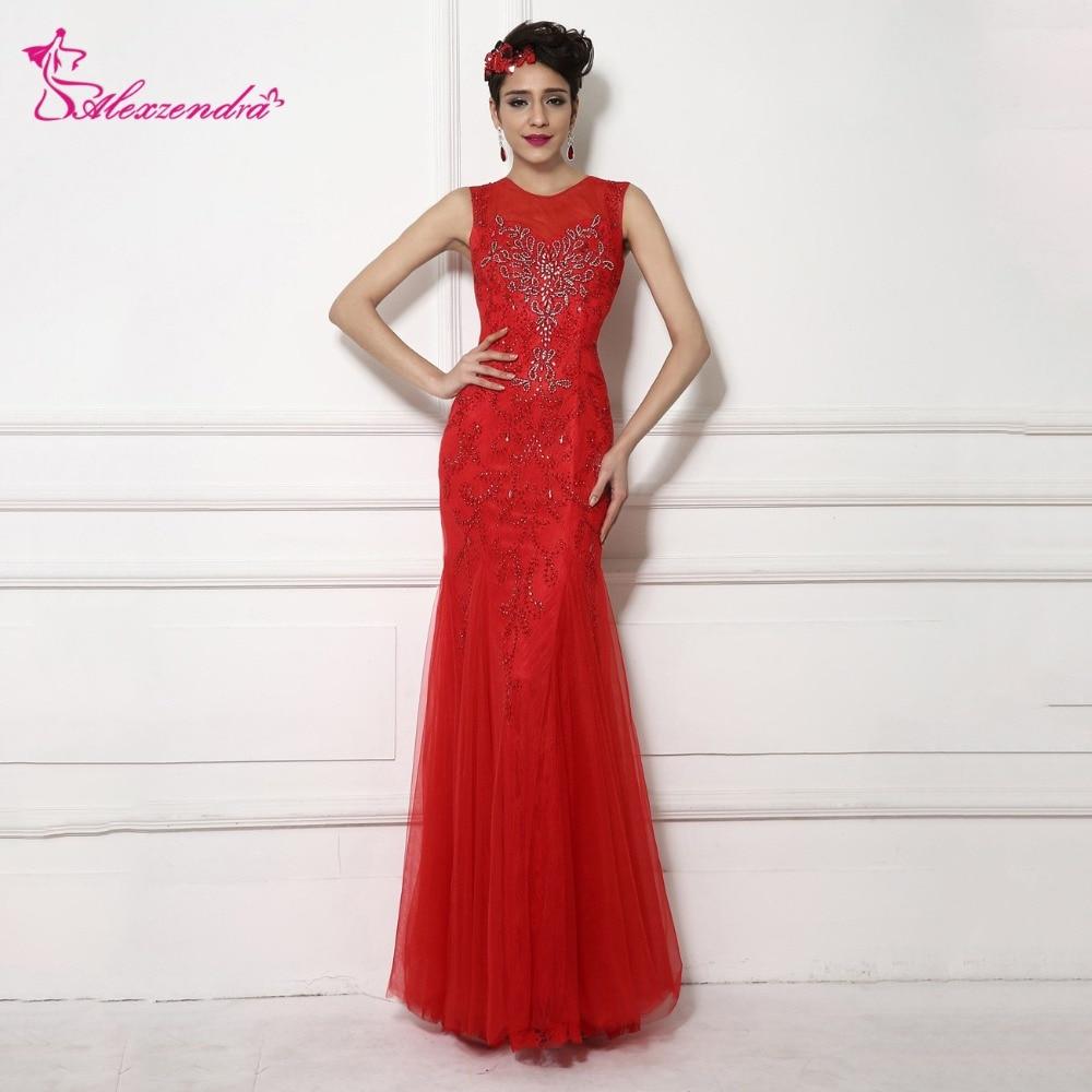Alexzendra rouge encolure dégagée perlée Tulle sirène robes de bal Illusion retour longue formelle robes de soirée robe de soirée