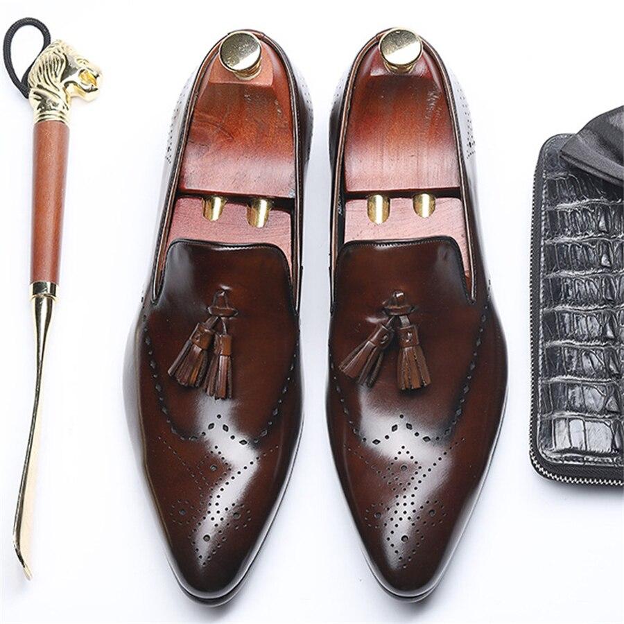 Feitos Casamento Oxford coffee Sapatos Vintage Apartamentos Casuais Negócios Vermelho Brogue 2019 Banquete Para De Do Dos À Mão Genuíno Black Homens Couro wqxFIPWn1n