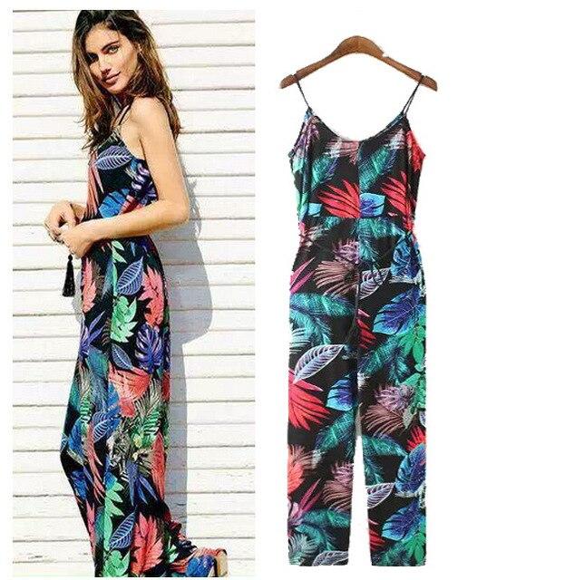 F754 fashion European style tropical prints lace suspenders rompers women jumpsuit women's cotton trousers