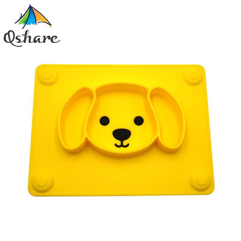 Qshare Baby Plate Tableware Children Food Feeding Container Placemat Baby Dishes Infant Feeding Silicone Suction Bowl For Kids