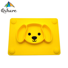 лучшая цена Qshare Baby Plate Tableware Children Food Feeding Container Placemat Baby Dishes Infant Feeding Silicone Suction Bowl for Kids