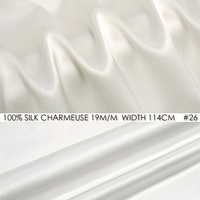 100% 19mm Natural White SILK CHARMEUSE SATIN 114cm width Pure Mulberry Silk Fabric for Wedding Dress/Office dress/Pillow NO 26