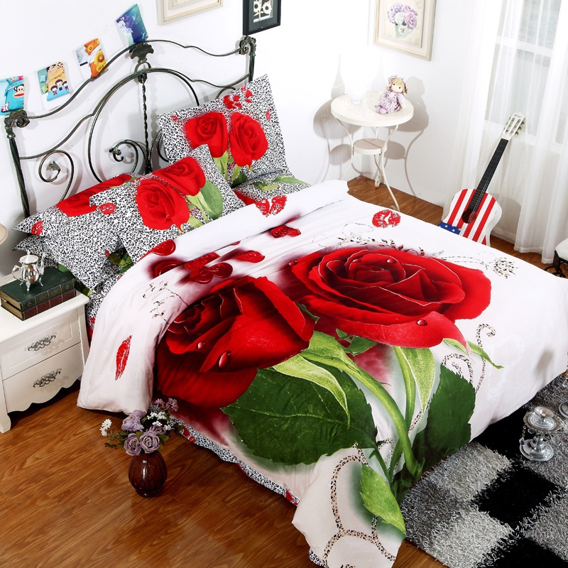 red rose flower black leopard skin printed girls bedding set 3D oil painting bed linen cotton full queen duvet covers sets 4pc - myloves household items store