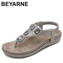 BEYARNE  New Women Flat Sandals Plus Size 35 42 Fashion Crystal Woman Shoes Summer Footwear Beach Flip Flops Shoes Women