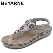 Beyarne nova mulher sandálias planas plus size 35 42 moda mulher de cristal sapatos de verão calçados praia flip flops sapatos femininos