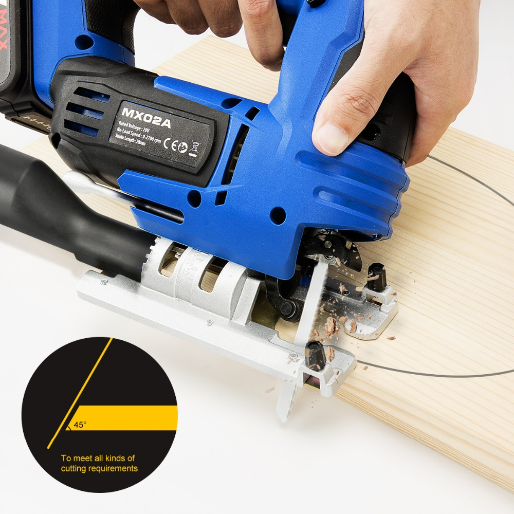PROSTORMER 20V Jig Saw Woodworking Cordless Jigsaw Quick Blade Change Electric Saw LED Light Guide With 6 Pcs Blades Power Tools