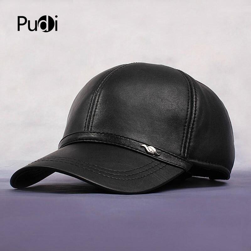 HL044 New Men S 100 Genuine Leather Military Hat Cap Hats Baseball Adjustable
