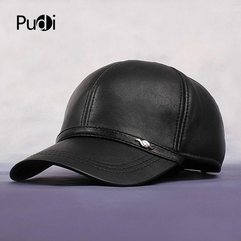HL044 sombreros de invierno de los nuevos hombres 100% sombrero de cuero  genuino gorra de béisbol ajustable cuero real primavera caps sombreros ba81ae8d726