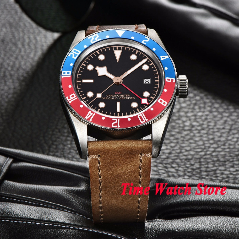 41mm Corgeut GMT automatic wrist watch men sapphire glass waterproof black strile dial luminous blue red Bezel leather strap - 3