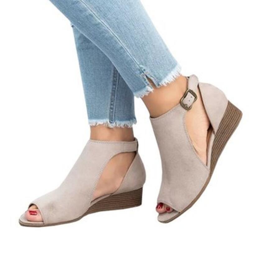 Romanos Mujer gris 2019 Hebilla Modelos Zapatos Tamaño Peces marrón Boca Nuevos Explosión Gran Verano Negro De Cuñas Sandalias xRg1wRq0