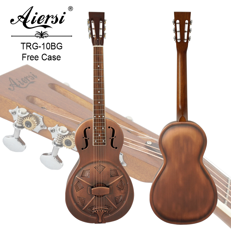 Aiersi Brand Parlour Resonator Guitar with Vintage Bell Body Metal Free guitar Case and strap gold abalone metal bell guitar bass knob for 6mm split shaft 3pcs