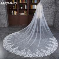 3 Meter Ivory Cathedral Wedding Veils Long Lace Edge Bridal Veil with Comb Wedding Accessories Bride Mantilla Wedding Veil 2018