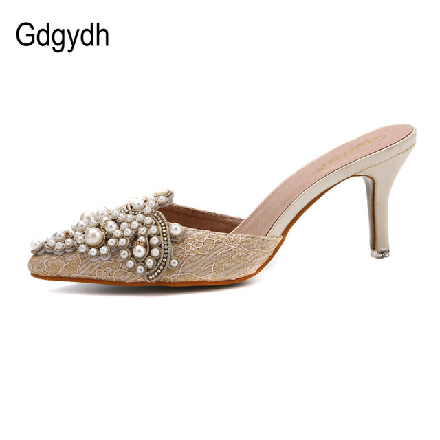 Gdgydh New Brand 2017 Summer Shoes Women Sweet Elegant Pearl Beaded High-heeled Shoes Thin Heels Pointed Toe Women Sandals