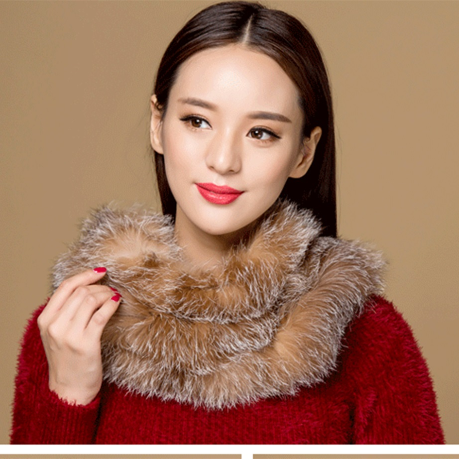 ZY86014 2017 New Arrive Fur Accessory Winter Autumn Real Fox Fur   Scarves     Wraps   Winter Women Knit Fox Fur Infinity Loop   Scarf