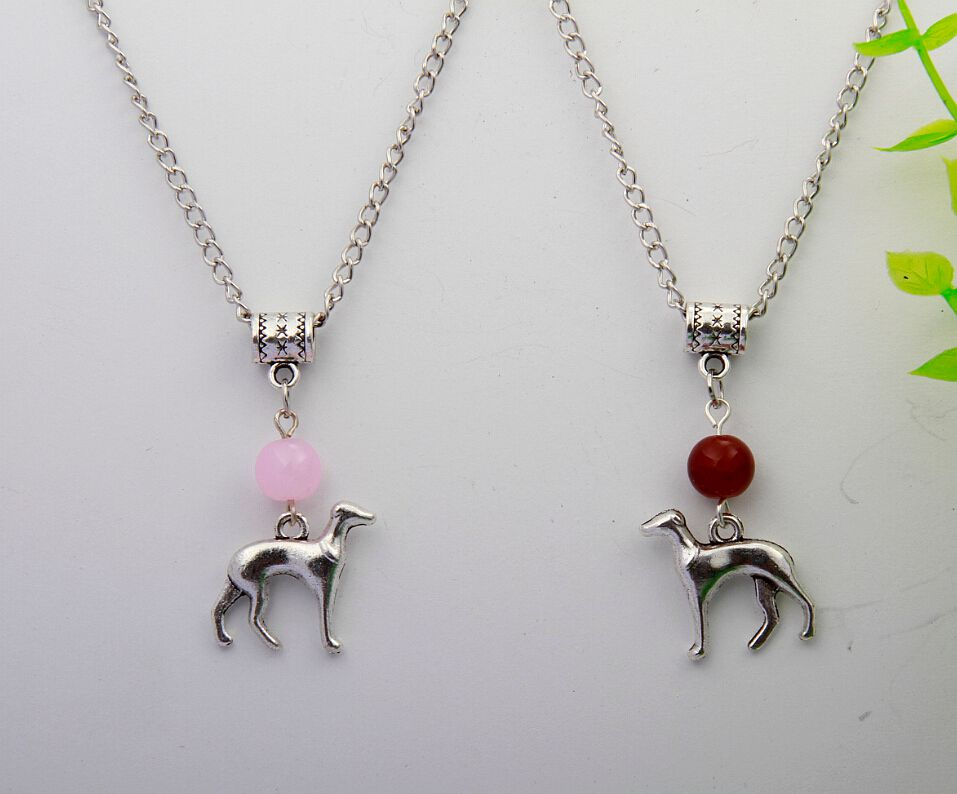 10PCS Ancient Silver Vintage Korea Greyhound Beads Pendant Necklace Plated Alloy Girl Chian Necklaces Pendants Women H072